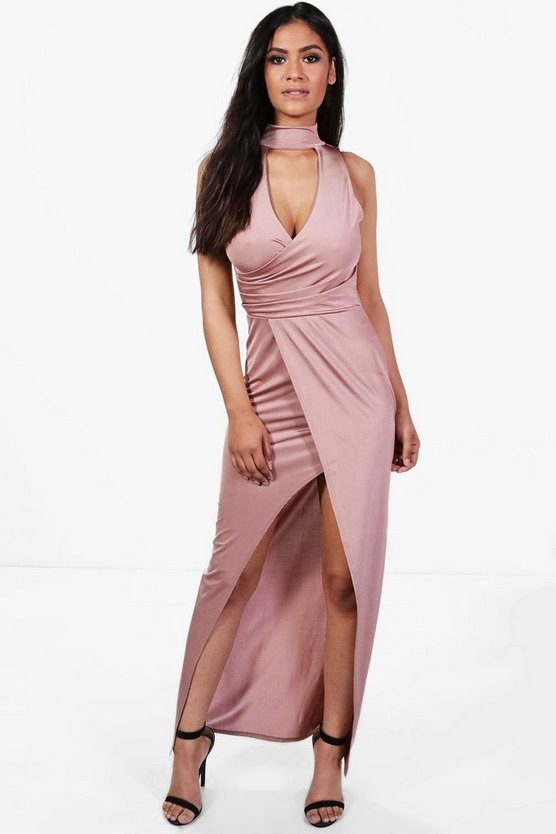 Sally Choker Wrap Detail Maxi Dress