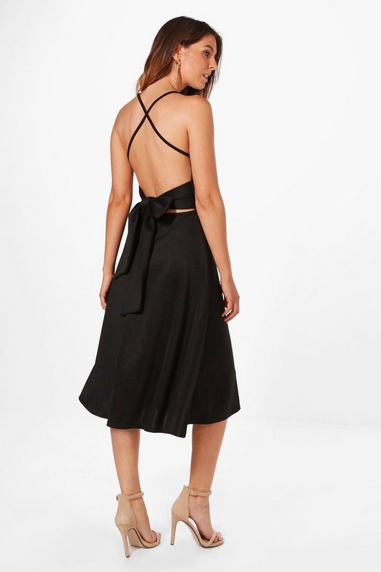 Tie Back Detail Midi Skater Dress