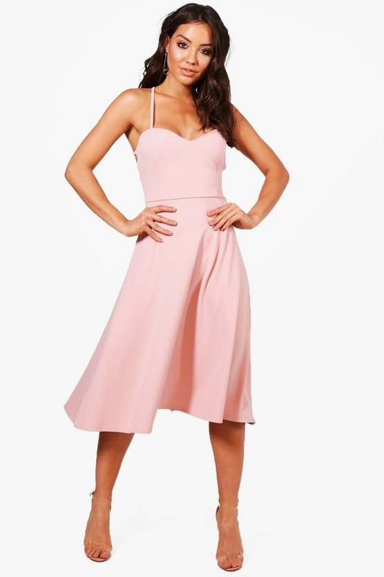 Yasmin Tie Back Detail Midi Skater Dress