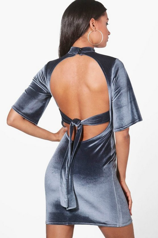Ola Velvet Open Back Bodycon Dress
