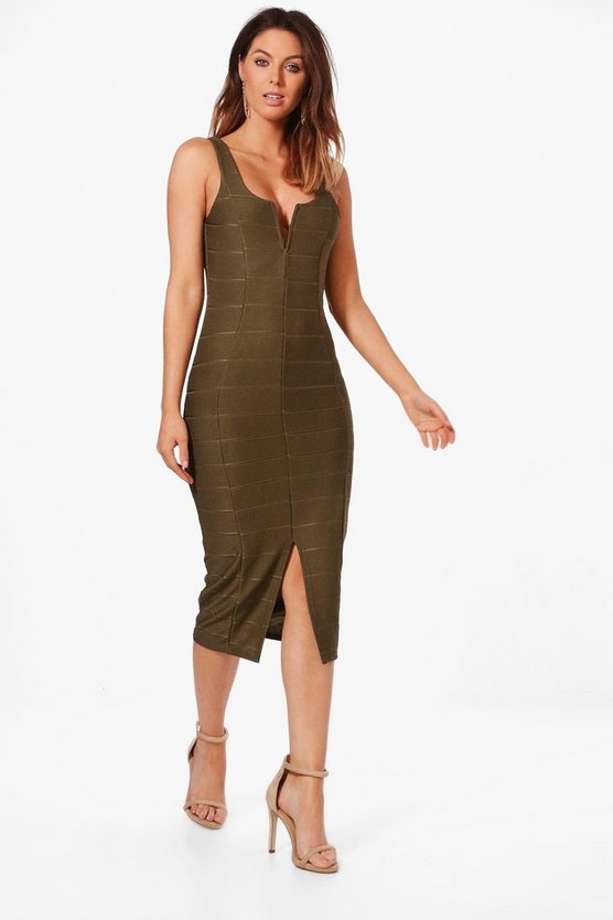 Erin Plunge Bandage Midi Dress