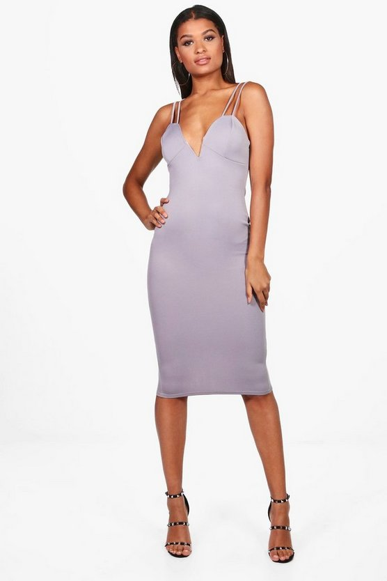 Fiona Double Strap Structured Midi Dress