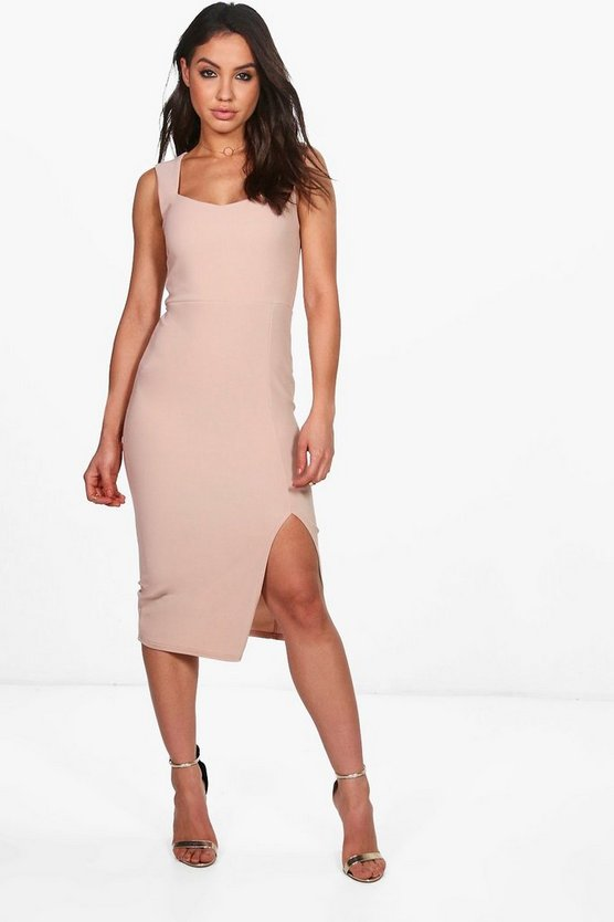 Lila Strappy Fitted Rib Midi Dress