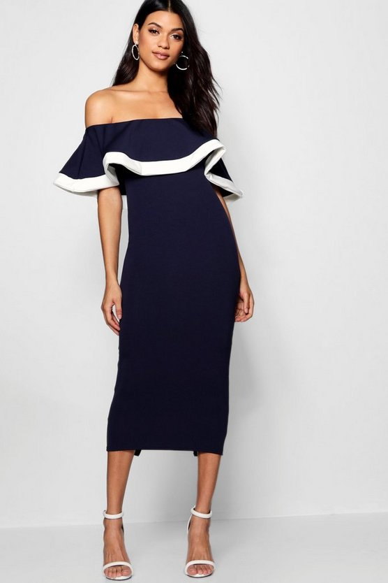 Bea Tipping Detail Frill Bardot Midi Dress