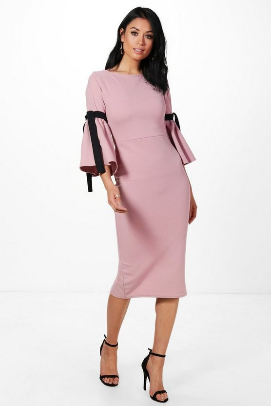 Annabel Tie Sleeve Midi Dress