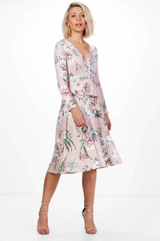 Charlie Floral Long Sleeve Wrap Midi Dress