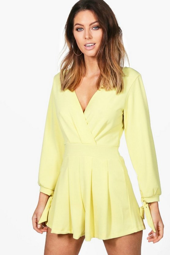 Amelia Wrap Front Tie Sleeve Playsuit