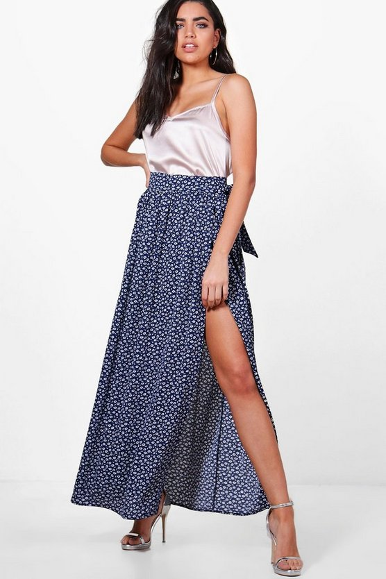 Bali Woven Ditsy Floral Wrap Maxi Skirt