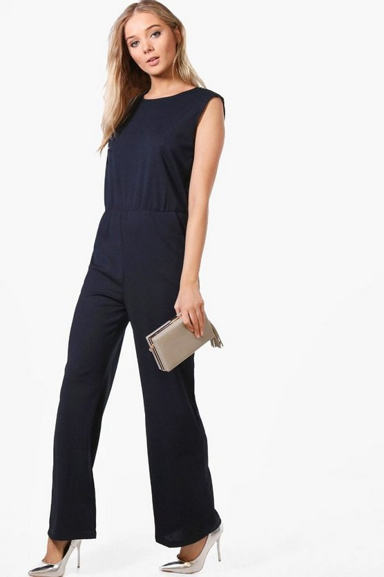 Erina Zip Shoulder Tailored Wide Leg Jumpsuit