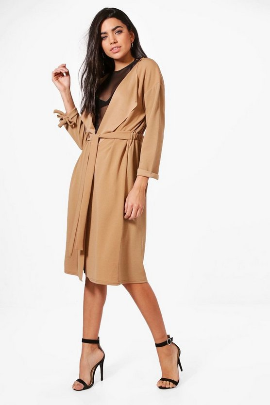 Sofia Gathered Back Longline Duster
