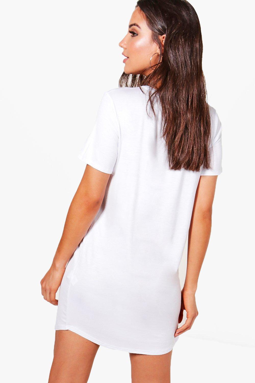 Black t shirt dress ebay - Boohoo Womens Bella Distressed Printed T Shirt Dress
