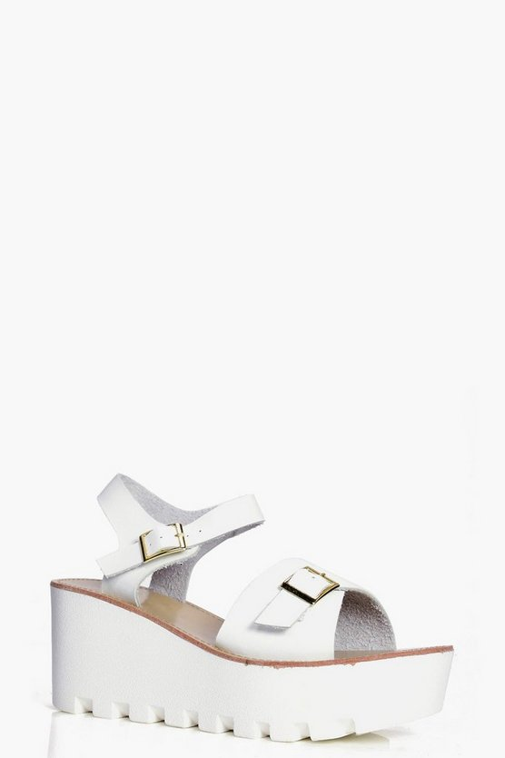 Millie Buckle Trim Chunky Wedge