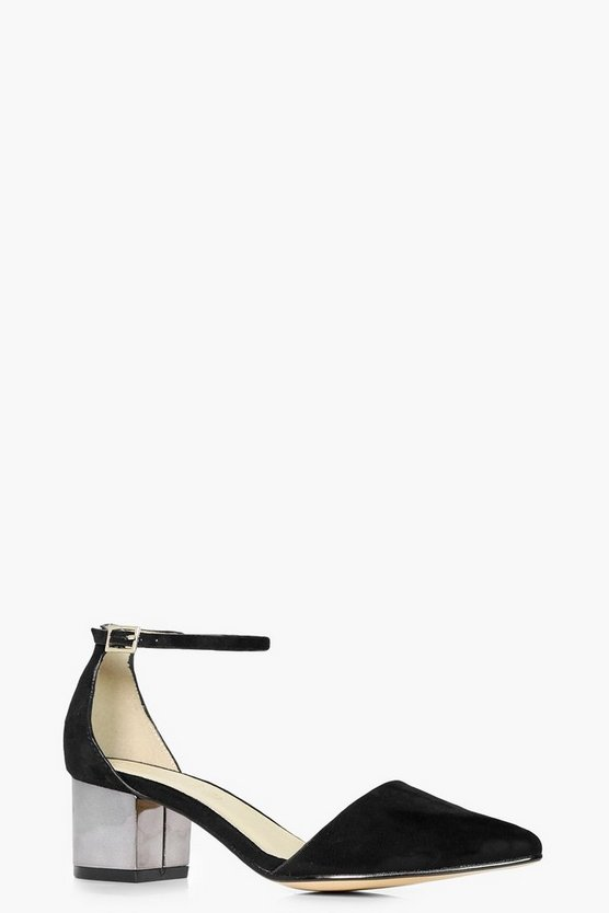 Megan Metallic Heel Pointed Ballet
