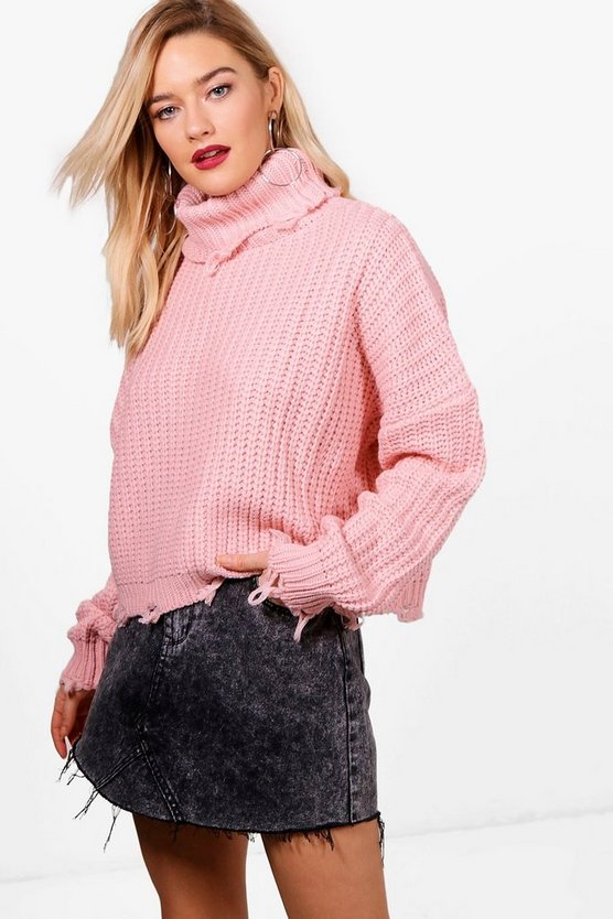 Aimee Distressed Roll Neck Oversized Jumper