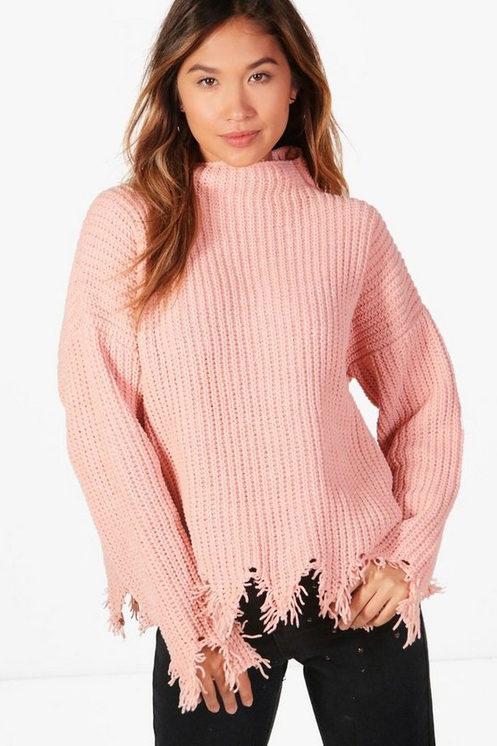 Joanna Distressed Hem Chenille Jumper