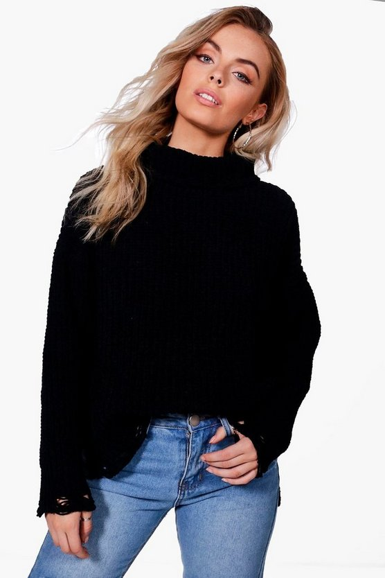 Distressed Hem Chenille Jumper