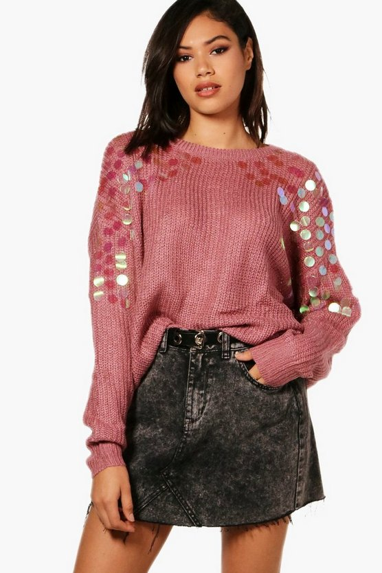 Ella Sequin Shoulder Soft Knit Jumper