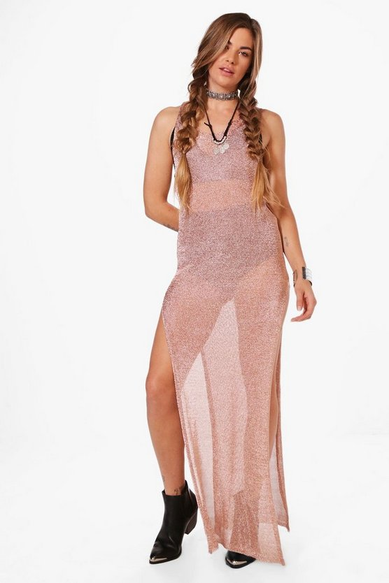 Nicole Metallic Knit Maxi Beach Dress