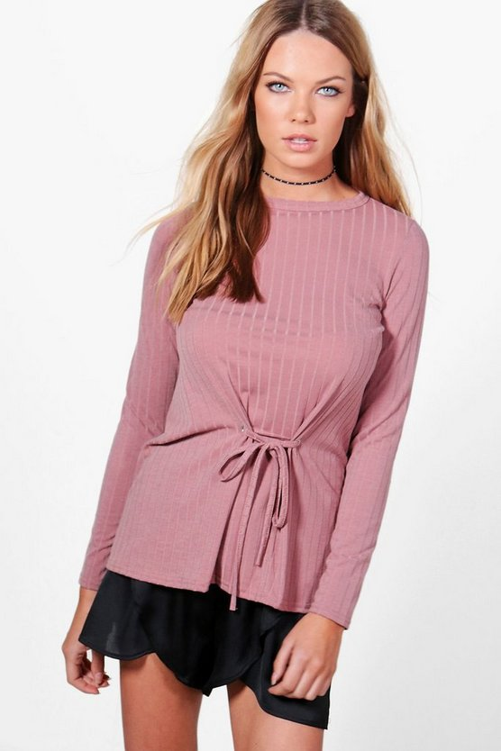 Megan Corset Detail Rib Knit Top