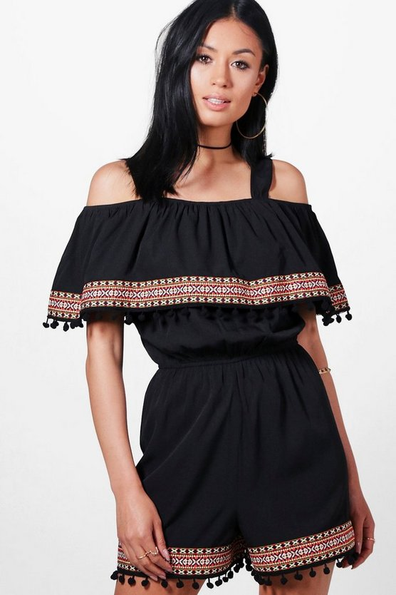 Leigh Pom Pom Trim Cold Shoulder Playsuit