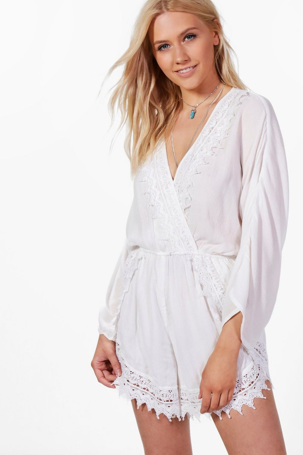 Boohoo Flare Sleeve Crochet Playsuit Explore For Sale Buy Cheap Countdown Package TEoryqn