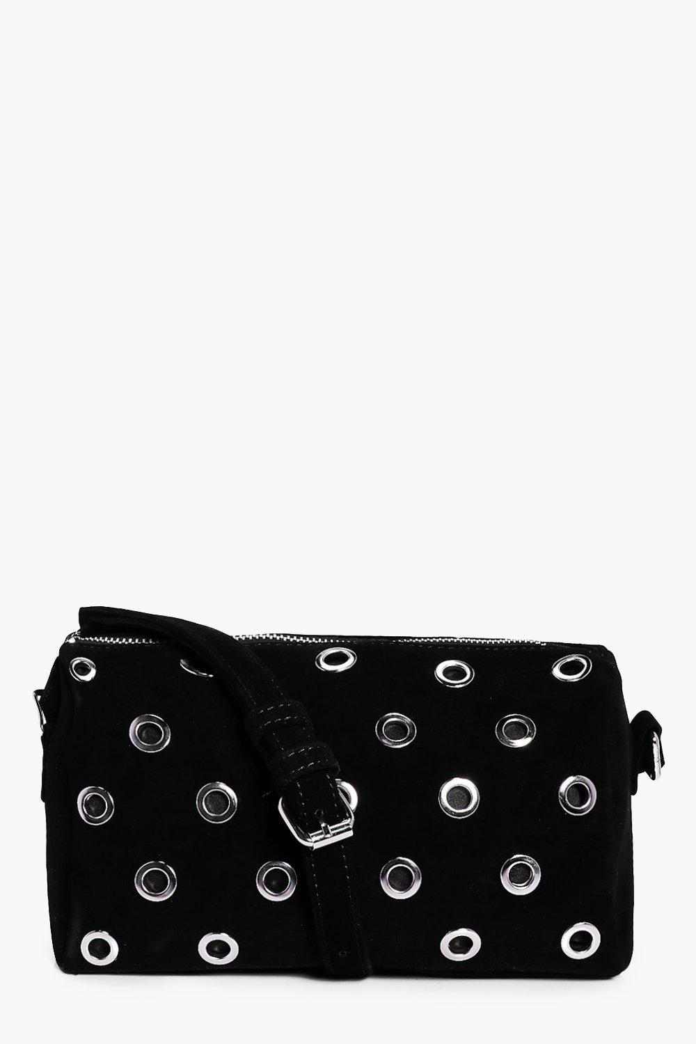 Eyelet Suedette Cross Body Bag - black - Louise Ey