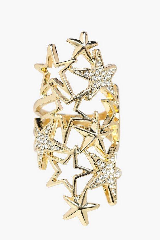 Leah Boutique Diamante Star Statement Ring