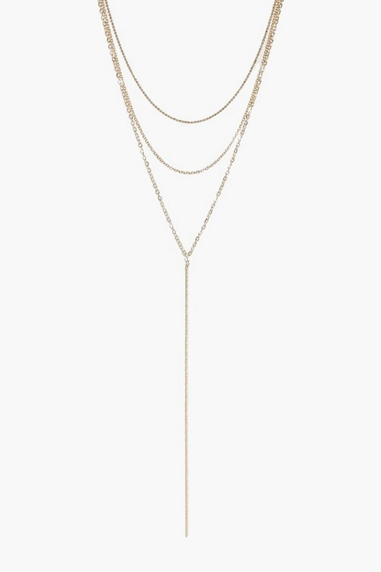 Rebecca Skinny Layered Plunge Necklace