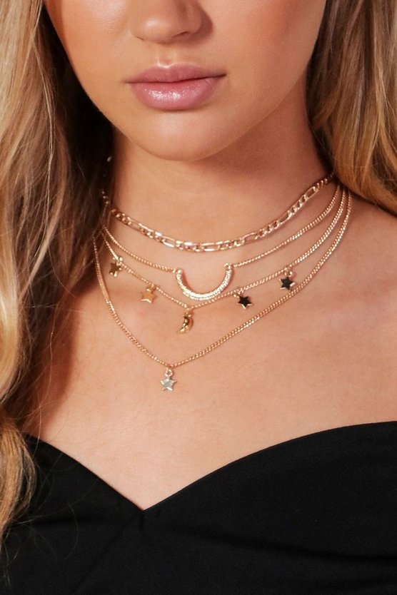 Lauren 4 Layer Chain Star & Horn Choker