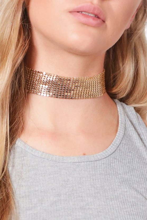 Emily Wide Chainmail Metal Choker