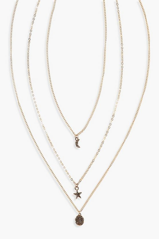 Mia Star & Moon Double Layered Necklace