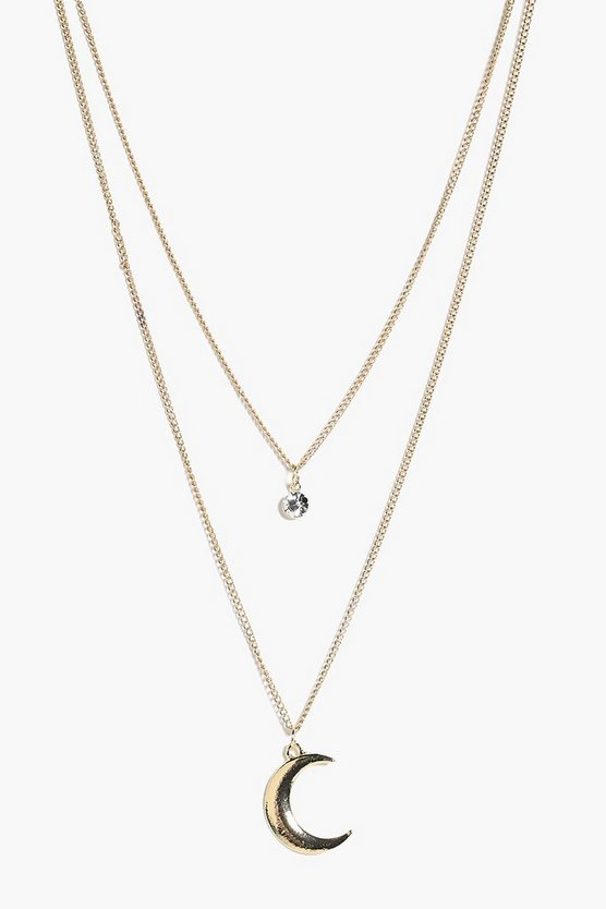Ava Diamante & Moon Layered Necklace