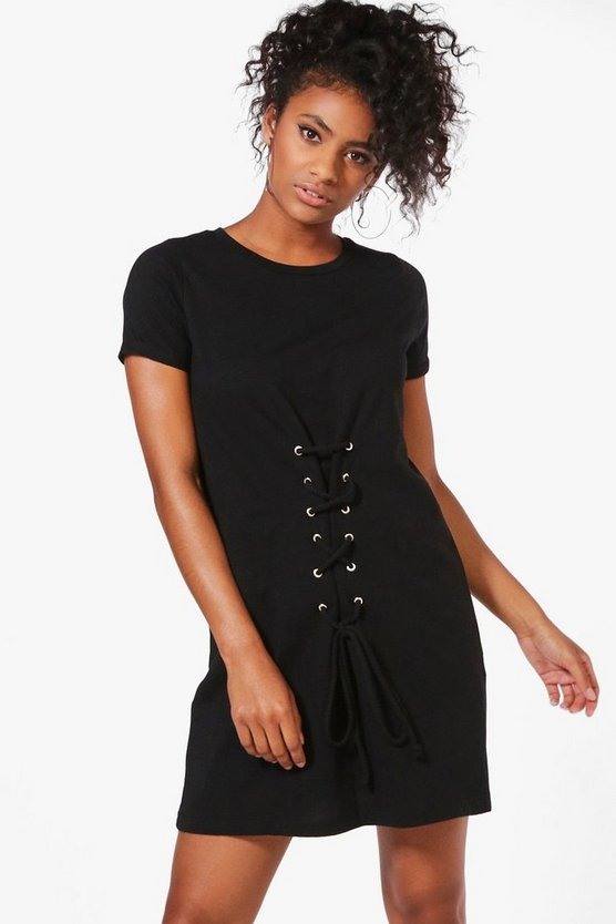 Louise Lace Up Front T-Shirt Dress