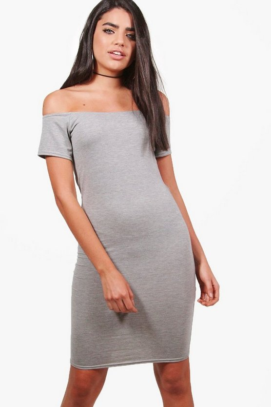 Cap Sleeve Off The Shoulder Bodycon Dress