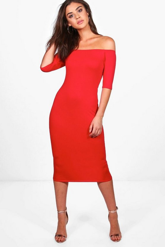 Amelia Off The Shoulder Midi Dress