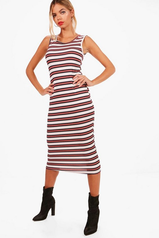 Stripe Sleeveless Bodycon Midi Dress