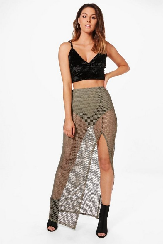 Kimana Thigh Split Mesh Maxi Skirt
