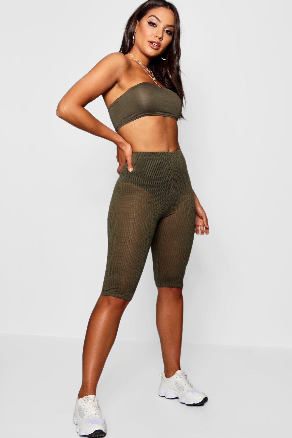 Cleo Sheer Mesh Knee Length Leggings khaki