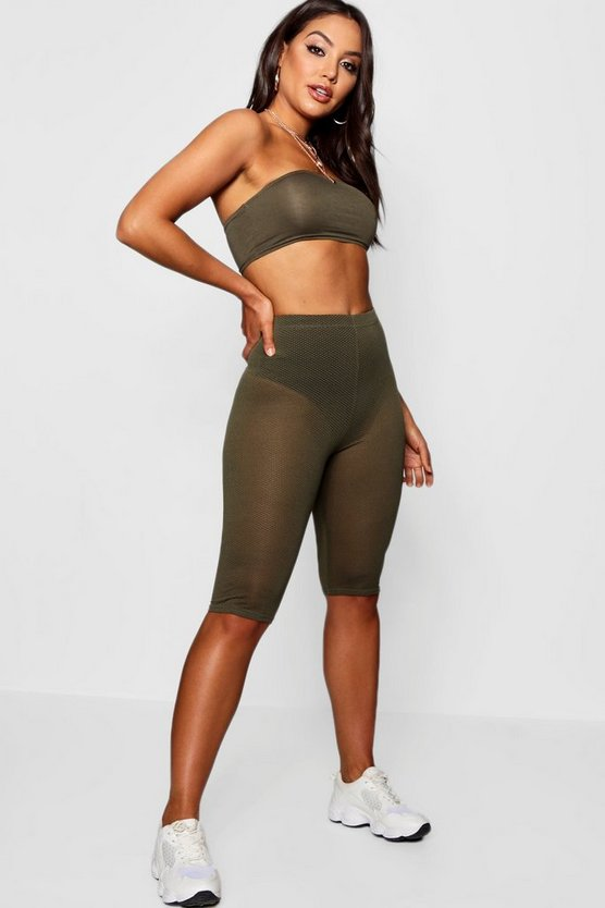 Cleo Sheer Mesh Knee Length Leggings