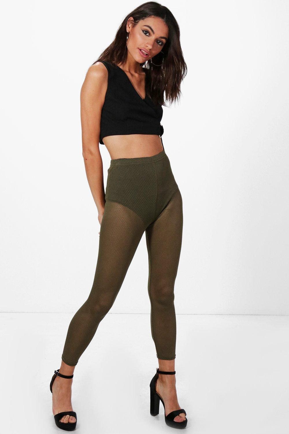 Kora Sheer Mesh Ankle Grazer Leggings khaki