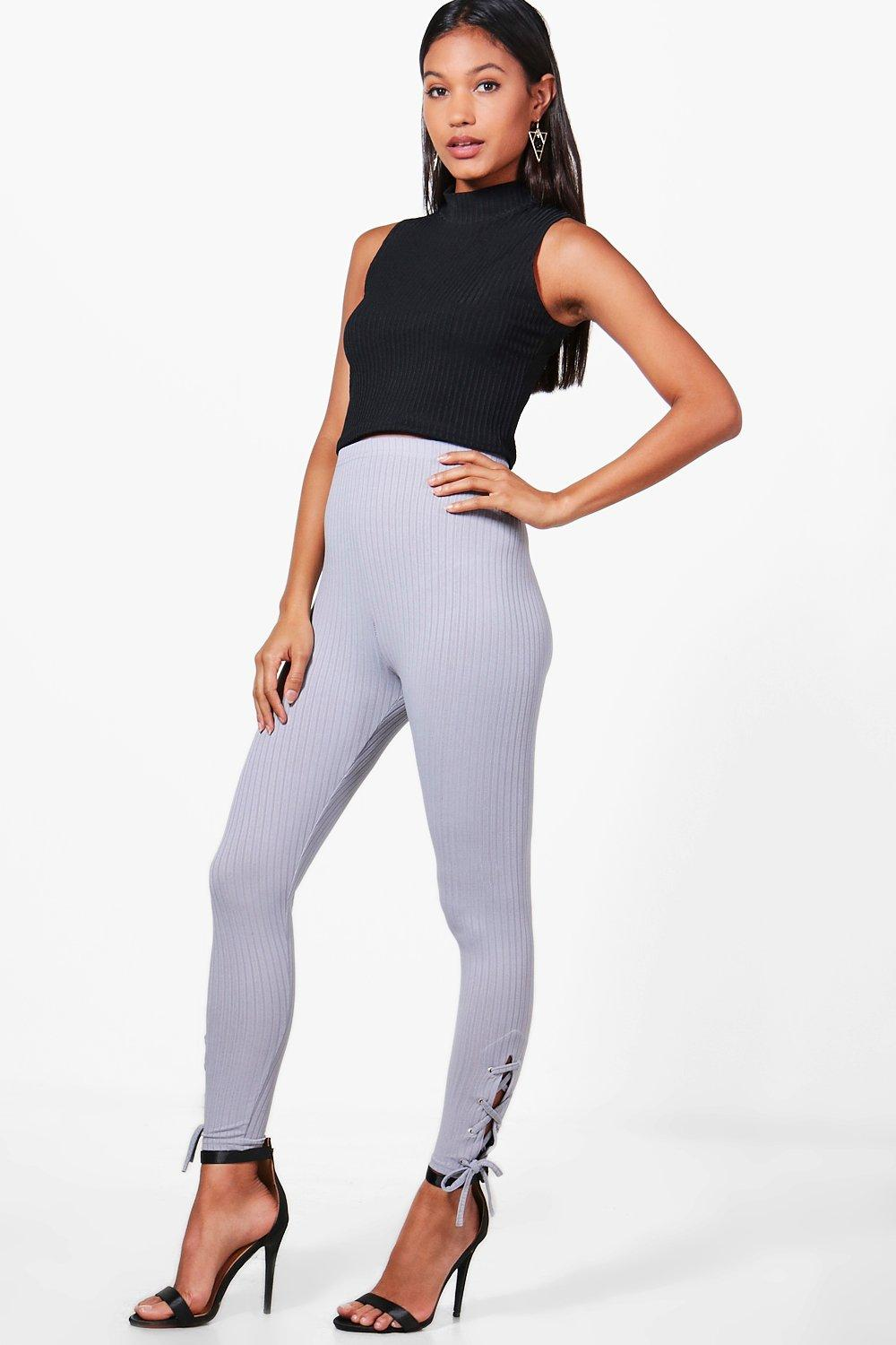 Mila Lace Up Side Ribbed Leggings silver