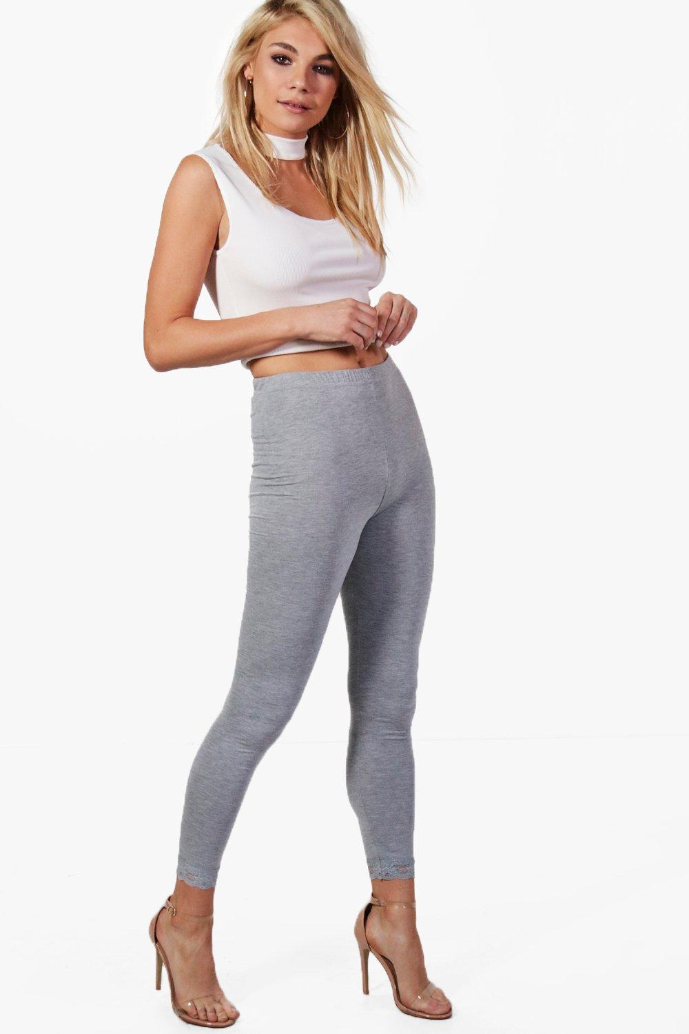 Nora Lace Trim Ankle Grazer Leggings grey marl