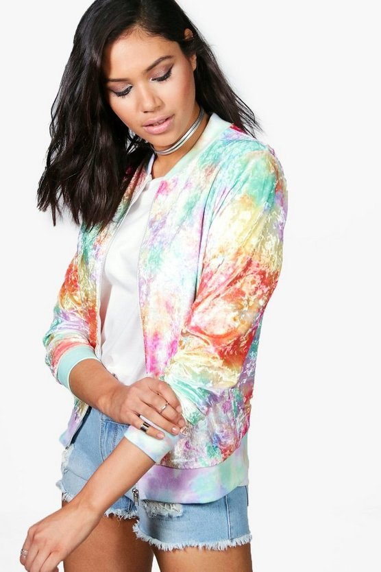 Olivia Tie Dye Multi-Coloured Unicorn Velvet Bomber