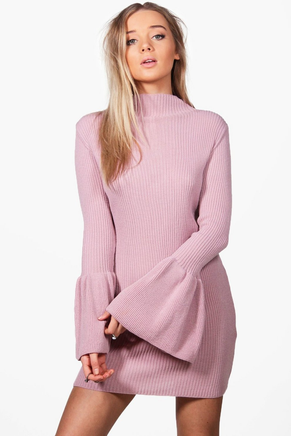 Melissa Wide Sleeve Jumper Dress | Boohoo