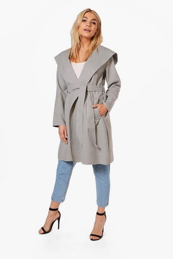 Grace Hooded Belted Wool Coat
