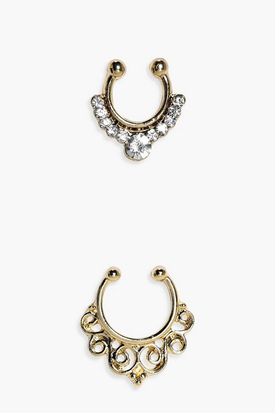 Maya Diamante Faux Septum Ring 2 Pack