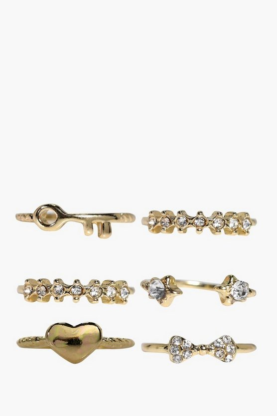 Faith Diamante Mixed Size Ring 6 Pack