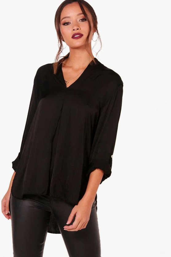 Felicity Collarless Satin Shirt Top
