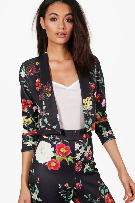 Zoe Floral Crop Collarless Blazer