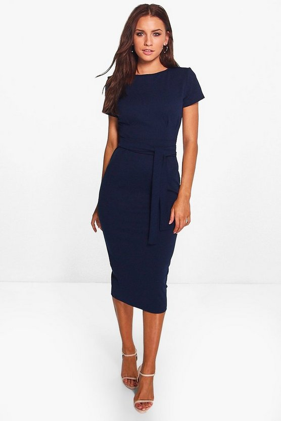 Eve Pleat Front Belted Tailored Midi Dress